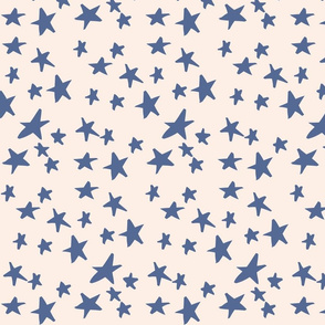 Hand Drawn Stars - Dusk Blue and Peach