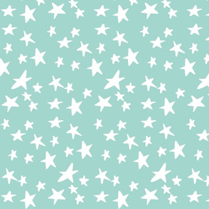 Hand Drawn Stars - Mint Green and White