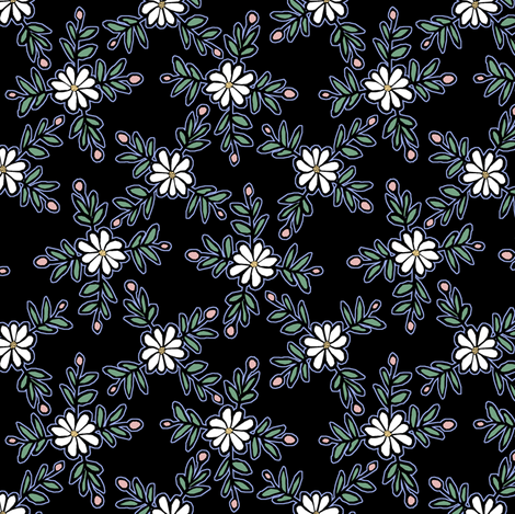 Black Floral fabric by pond_ripple on Spoonflower - custom fabric