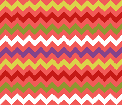 Colorful Chevron Coral fabric by littlerhodydesign on Spoonflower - custom fabric