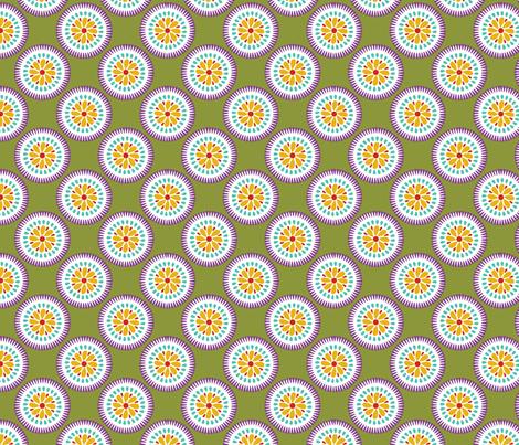 Sunburst Flower Lime fabric by littlerhodydesign on Spoonflower - custom fabric