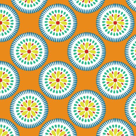Sunburst Flower Tangerine fabric by littlerhodydesign on Spoonflower - custom fabric