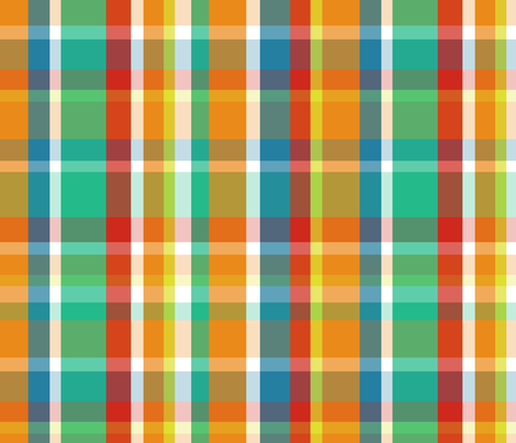 Madras Plaid Tangerine fabric by littlerhodydesign on Spoonflower - custom fabric