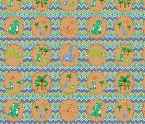 Baby Dinosaur Chevrons fabric by jubilli on Spoonflower - custom fabric