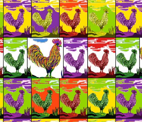 Cockerel Medley by Sylvie fabric by house_of_heasman on Spoonflower - custom fabric