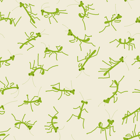 Baby Praying Mantises fabric by mongiesama on Spoonflower - custom fabric