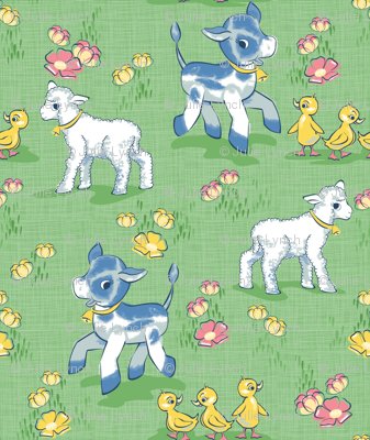 Vintage baby farm animals and buttercups