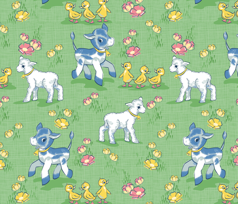 Vintage baby farm animals and buttercups fabric for Retro baby fabric