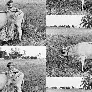 Farm Girl with Cow