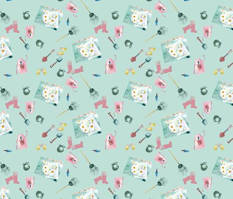 April gardening notes fabric by karenharveycox on Spoonflower - custom fabric