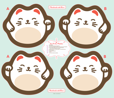 "Cut-&-Sew Plushie: 14"" Maneki Neko (Lucky Cat)  fabric by wanart on Spoonflower - custom fabric"