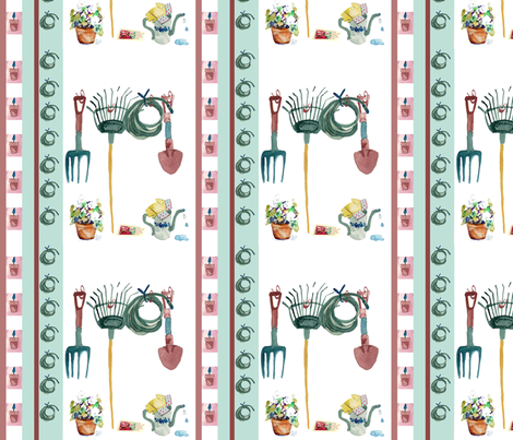 Potting Petunias Stripe fabric by karenharveycox on Spoonflower - custom fabric