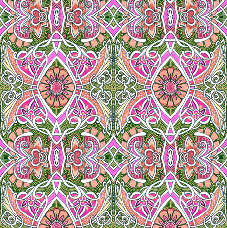 When Barbie Dreams of Dumping Ken (abstract feminine floral) fabric by edsel2084 on Spoonflower - custom fabric