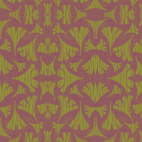 Ginkgo Leaf woodcut - chartreuse and lavender  fabric by materialsgirl on Spoonflower - custom fabric