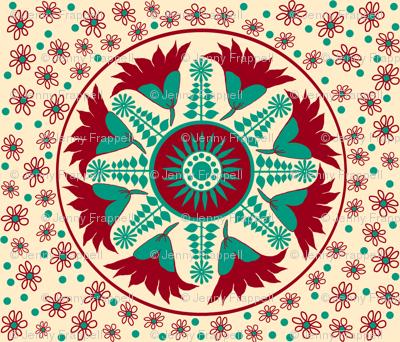 Elizabeths Regency Embroidery half drop © Indigodaze2013
