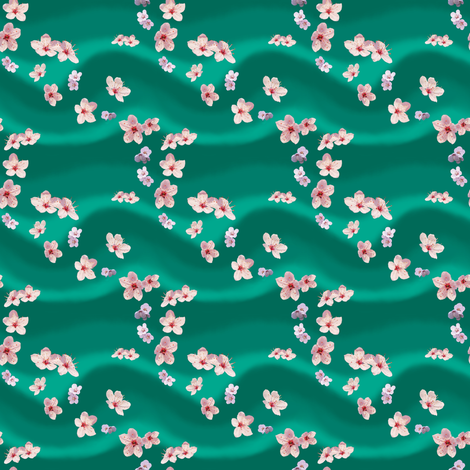 Scattered Blossoms on Jade by Sylvie fabric by house_of_heasman on Spoonflower - custom fabric