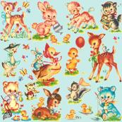 Favorite vintage Baby Animals Aqua