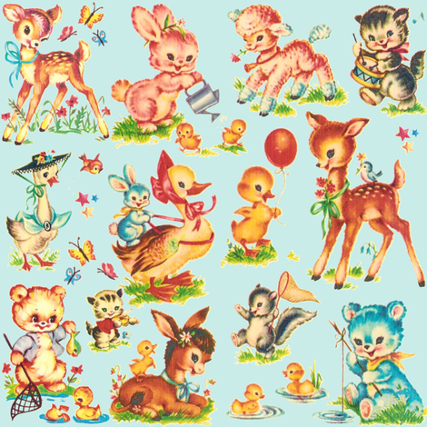 Favorite Vintage Baby Animals Aqua Fabric By Parisbebe On Spoonflower