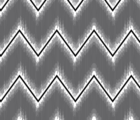 Ikat_Chevron_Charcoal fabric by crisbucknall on Spoonflower - custom fabric