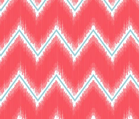 Ikat_Chevron_Coral fabric by crisbucknall on Spoonflower - custom fabric