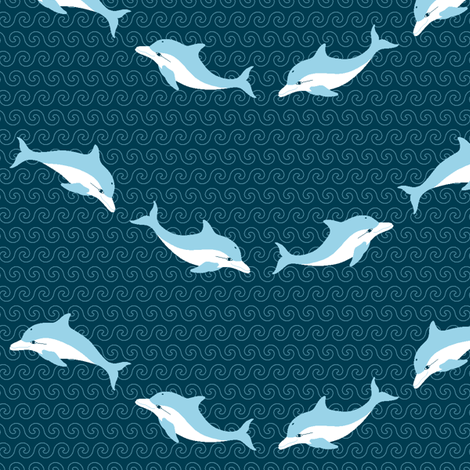 dolphin waves fabric by sef on Spoonflower - custom fabric
