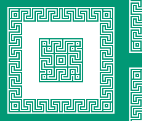 Greek key pillow - emerald fabric by ravynka on Spoonflower - custom fabric