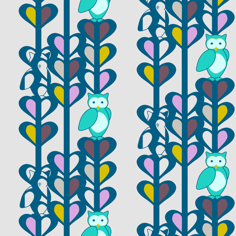 Owls in Turquoise fabric by powellingaround on Spoonflower - custom fabric