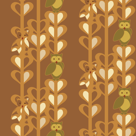 Owls in Olive fabric by powellingaround on Spoonflower - custom fabric