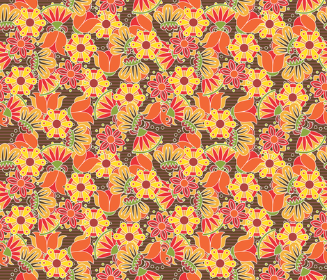 flowers-red fabric by melhales on Spoonflower - custom fabric