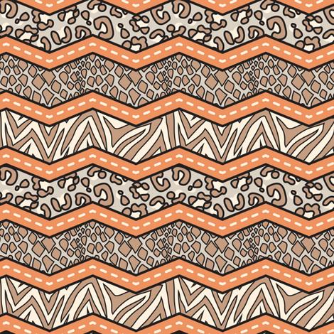 Jungle Animal Chevron Orange fabric by katrinazerilli on Spoonflower - custom fabric