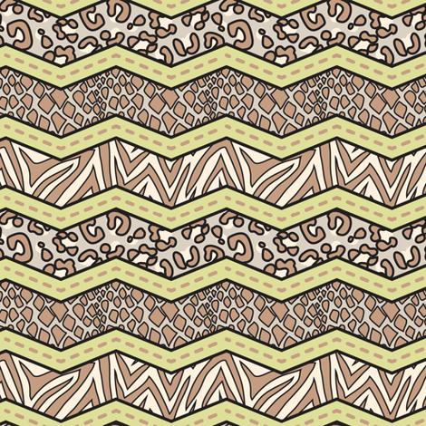 Jungle Animal Chevron Green fabric by katrinazerilli on Spoonflower - custom fabric