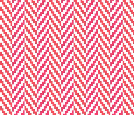 Aztec_Chevron_Coral fabric by crisbucknall on Spoonflower - custom fabric