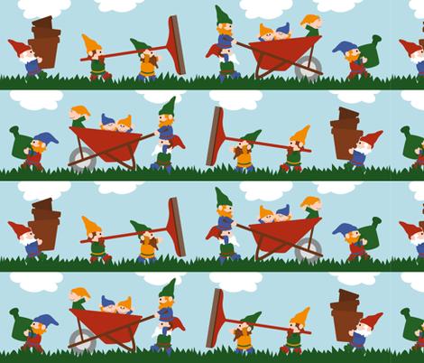 Gardening Gnomes fabric by jennifer_clarke_designs on Spoonflower - custom fabric