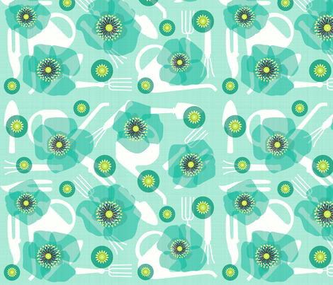 Poppies and gardening tools fabric by heleenvanbuul on Spoonflower - custom fabric