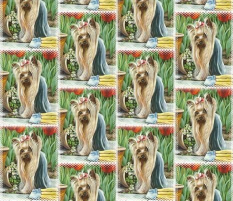 Yorkie_gardener fabric by greerdesign on Spoonflower - custom fabric