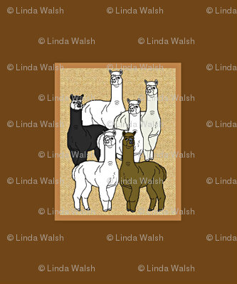 Alpacas Brown Poster Animals Fabric