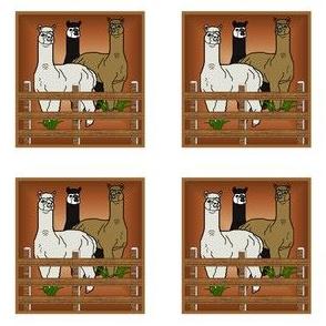Alpacas Trio Ornaments Animal Fabric