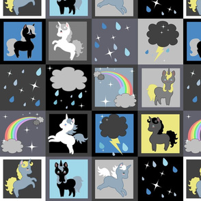 Rainy Day Unicorns Cheater Quilt