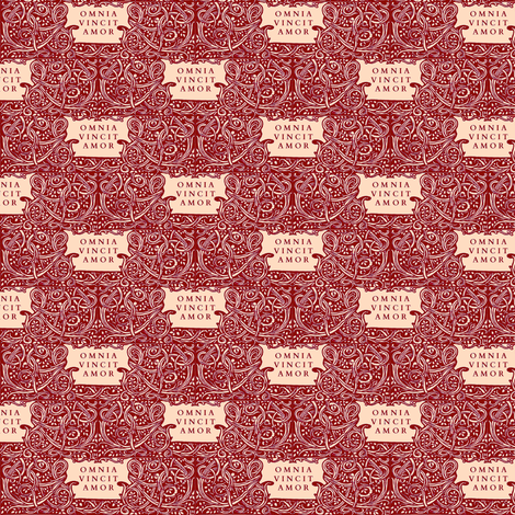Love Conquers All Red fabric by amyvail on Spoonflower - custom fabric