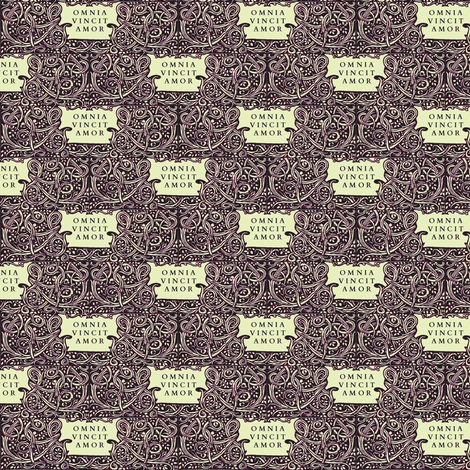 Love Conquers All Black fabric by amyvail on Spoonflower - custom fabric