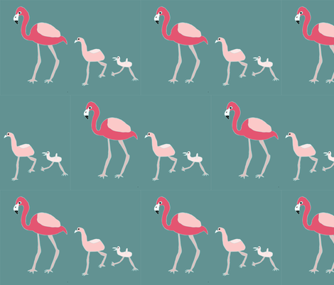 Flamingo Family fabric by heartfullofbirds on Spoonflower - custom fabric