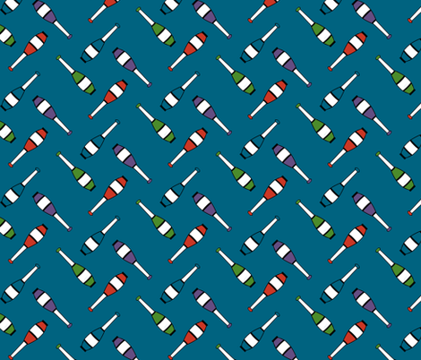 Juggling Clubs Blue fabric by evenspor on Spoonflower - custom fabric