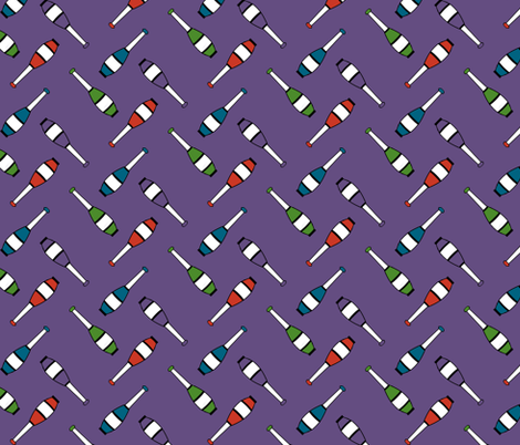 Juggling Clubs Purple fabric by evenspor on Spoonflower - custom fabric