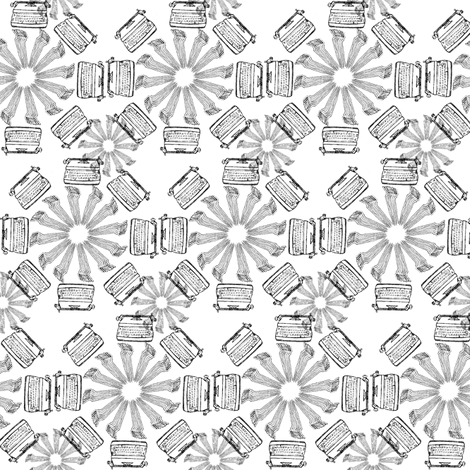 typewriter_flower_black fabric by maglicjb on Spoonflower - custom fabric