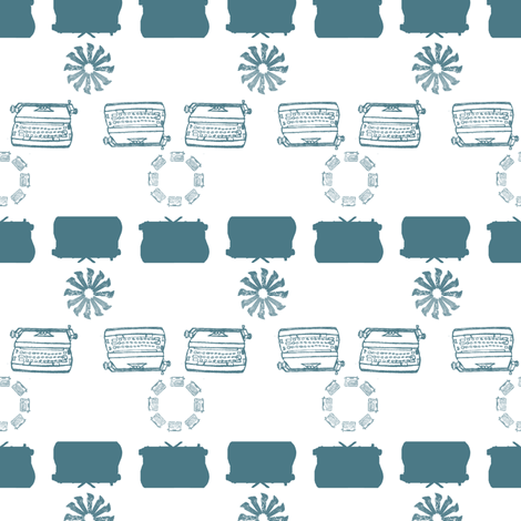 typewriter_stripe_4_objects_teal fabric by maglicjb on Spoonflower - custom fabric