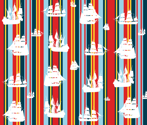 Sailing Across Sunset Sea Stripes fabric by smuk on Spoonflower - custom fabric
