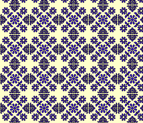 Spanish tiles Art Deco flowers fabric by spacefem on Spoonflower - custom fabric