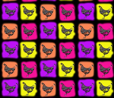 neon chickens fabric by lilmunter on Spoonflower - custom fabric