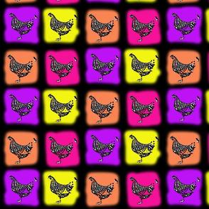 neon chickens