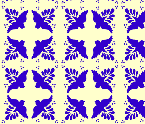 Mexican tiles birds  fabric by spacefem on Spoonflower - custom fabric